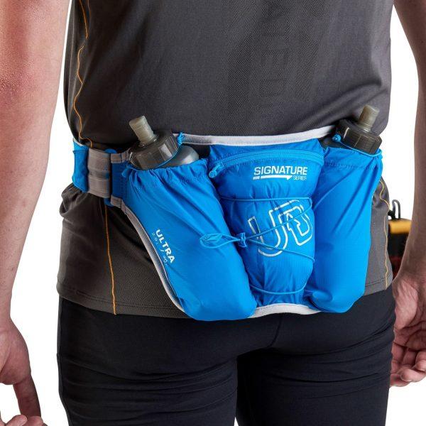 Ultimate Direction Ultra Belt 5.0 & 2 x 500ml Body Bottle - Signature Blue - Model Back