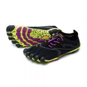 Vibram Fivefingers Womens V-RUN Minimalist Running Shoes - Black/Yellow/Purple